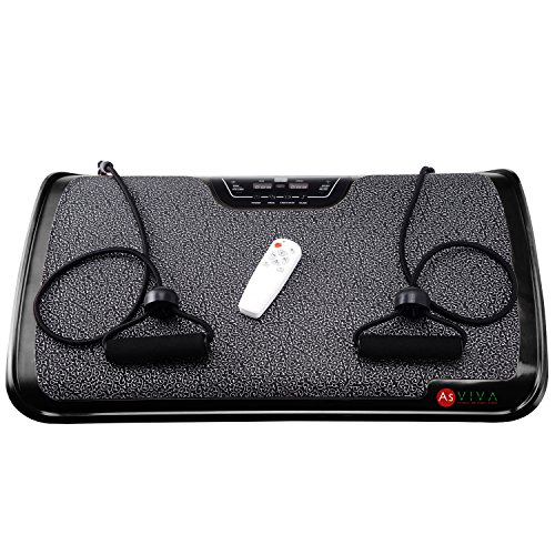 AsVIVA V9 Vibrationsplatte/Vibraplate mit 200 Watt Motor, 3 Zonen inkl. Fernbedienung und Gummibänder