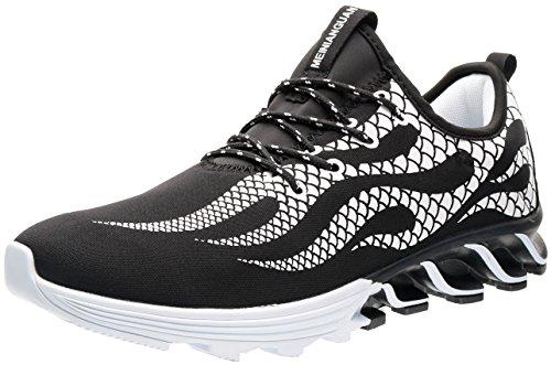 JOOMRA Hombre Zapatillas de Carreras de Montaña Zapatos para Rueda Andar Calzado Sneakers Shoe Casual Clasicas Clásico Moda Comodos Ligera Men Negro, Blanco 40 EU