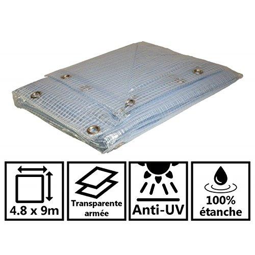 Telone Esercito trasparente 400g/m²–Telo di protezione impermeabile 4,8x 9m In PVC