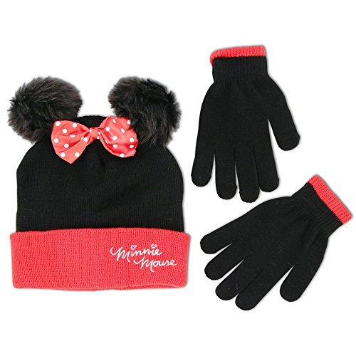 White Knit Glove (Disney Little Girls Minnie Mouse Character Hat and Glove Cold Weather Set, Age 4-7)