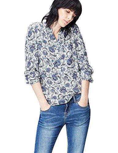 FIND Floral Blusa Para Mujer, Azul (Blue Mix), 40 (Talla del Fabricante: Medium)