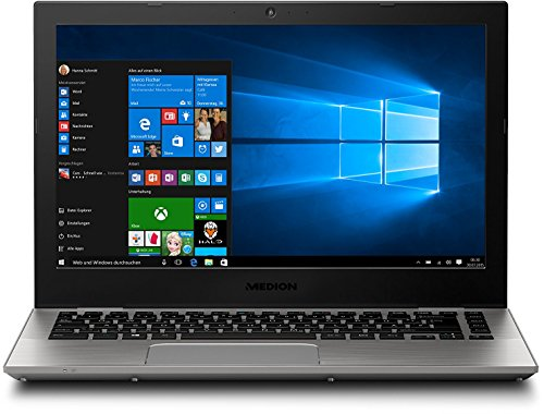 Medion Akoya S3409 MD 60241 33,7 cm (13,3 Zoll mattes Full HD Display) Notebook (Intel Core i5-7200U, 8GB RAM, 512GB SSD, Intel HD-Grafik, Win 10 Home) silber