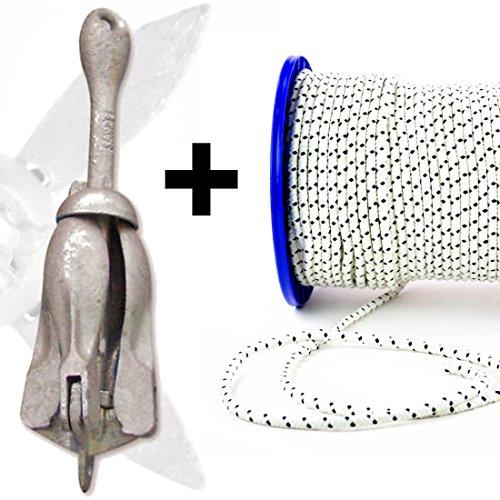 wellenshop Anker 2,5 kg + Ankerleine 30 m Ø 8 mm -