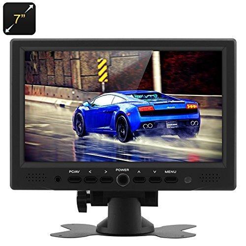 DTV pantalla TFT LCD de 7pulgadas Monitor de Coche Coche Monitor HDMI-800x 480Resolución Nativa, HDMI + VGA + av entradas de vídeo, función atril con rotación de 360grados