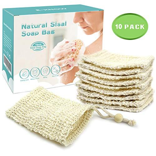 E-Know Seifensäckchen,10x Seifenbeutel,Natur Sisal Seifensäckchen,Zero Waste Plastikfrei Seifennetze,Trocknen der Seife und Aufschäumen, Massage,Peeling
