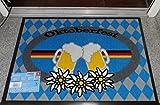 Fußmatte Fussmatte Fußabstreifer Fußabtreter Fussabstreifer Fussabtreter Schmutzmatte Sauberlaufmatte Türfussmatte Tütmatte Schmutzfangmatte Schmutzmatte robuste Fußmatte Oktoberfest mit Bierkrüge und Edelweiß / Bayrische Raute / Wiesn / Wiesn'n / Modell Fußmatte Oktoberfest Boarisch Bayrisch Bayerisch / Fußmatte für innen und aussen geeignet / 100% Polyamid Qualitäts Fussmatte / hochwertige Fußmatte in der Größe 50 x 75 cm lustig witzig