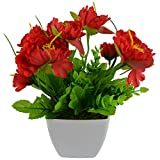 Thefancymart Artificial Flowers Peony flower plant (size 9 inchs/ 22 cms) with square white pot-0309-938