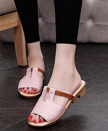 pente sandales et pantoufles été avec les étudiants femme pantoufles mot occasionnel Pink