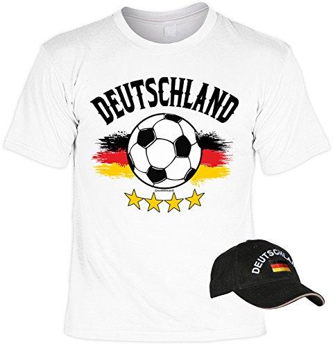 VERI 2-teiliges Fussball WM 2018 Deutschland T-Shirt Fahne Fanartikel Set Bundesliga Fan Trikot in weiss und besticktes schwarzes EM WM CAP Gr. 5XL : -