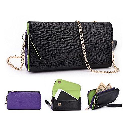 Kroo d'embrayage portefeuille avec dragonne et sangle bandoulière pour Alcatel POP D1Smartphone Black and Orange Black and Purple