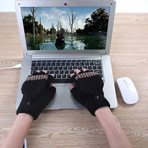 bescita Winter Warm Frau  Männer Handschuhe, Beheizte USB-Handschuhe, bis 45 °C, Entnehmbare Heiz-Elemente (Beheizbare Tastatur) (C)