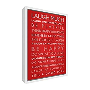 Feel Good Art Giclée Printed Canvas with Solid White Wooden Frame Surround &ltLaugh Much&gt, 64 x 44 x 3cm (Large), Wood Red, 64 x 44 cm