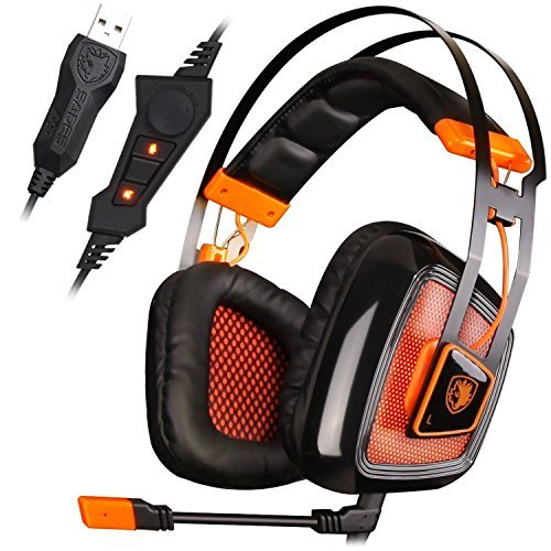 SADES A6 7.1 Virtual Surround Sound Stereo Over-ear PC USB Gaming Headset with Microphone Vibration Volume Control LED Lights Electroplating Cover Orange Black A8 Black