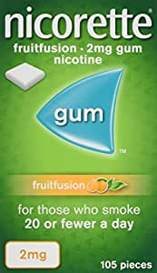 Nicorette Fruitfusion Chewing Gum, 2 mg, 105 Pieces (Stop Smoking Aid)
