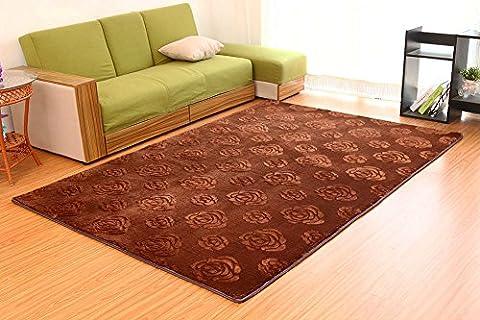 sannix 3D Rose Blume Muster Shaggy Bereich Teppiche und Teppich Super Weich Schlafzimmer quadratisch Teppich Teppich für Kinder spielen, coffee, (Dark Pink Bereich Teppich)