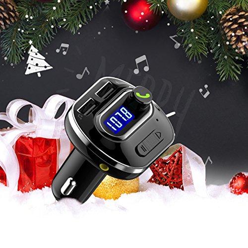VICTSING Transmisor FM Bluetooth 4.1 para Coche Mini Manos Libres Emisor AUX Salida Radio Adaptador y Reproductor de MP3 USB Cargador de Coche sin Instalacion Tarjeta TF para Móviles Tablet etc Negro