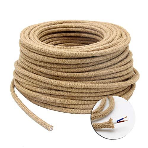 GreenSun - Cable de iluminación LED, cable de cuerda, 2 x 0,75 mm, cables eléctricos de cáñamo textil, trenzado de lino, para electrodomésticos, accesorios de lámpara de bricolaje