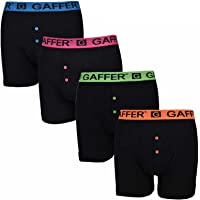 Gaffer Mens Boxer Neon Shorts Branded Soft Cotton Ribbed Underwear Trunks Assorted