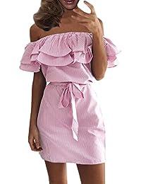 Schulterfrei Minikleider Damen off-shoulder Strandkleider Ohne Träger Kleid Ärmellos Streifen Sommerkleid