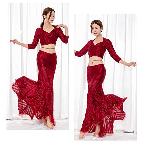 FUKJO Haut de Danse du Ventre Sexy Dancing Clothing Elégant Haut mCostume de Danse de Mode Pratique féminine Couleur de Bonbons Tops Mousseline,001,L