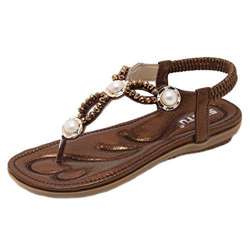 Longra Donna I sandali del Rhinestone della perla bordano i pattini di codice di codice esterno Caffè