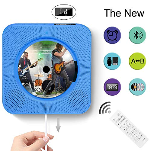 CD Player Wall Mountable Bluetooth Home Audio Remote Control Built-in HiFi Speakers USB MP3 3.5mm Headphone Jack AUX Input/Output (Blau) -