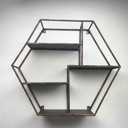 WENZHE Cube Regal Wandregal Schweberegale Storage Racks Bücherregal Polygonal Kreativität Gitter Multifunktion Zuhause Topfpflanzen Lager Metall, 2 Farben, 70 * 20 * 60 cm (Farbe : Bronze)