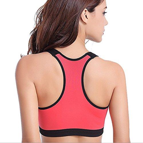 DELEY Femmes Fitness Exercice Racer Danse Stretch Action Jogging Sport Soutien-Gorge Débardeur Orange
