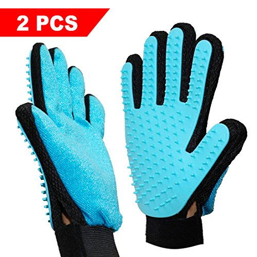 Pet Glove, Rantizon [2 Units] Gloves Mitt Massage with Silicone True Touch Soft Hair Removal and Massage Apparatus for Dogs Pets Cats Massage Grooming