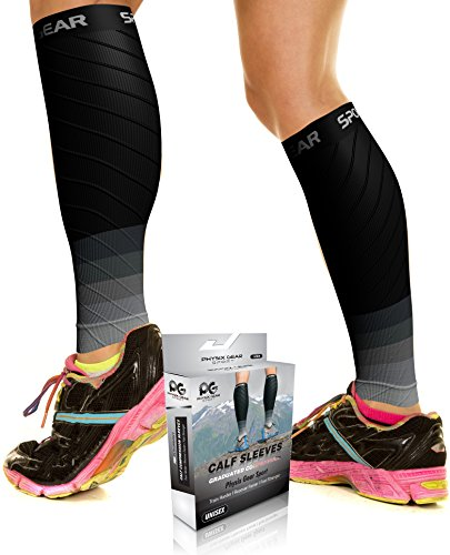 Calf Compression Sleeve for Men & Women, Best Footless Socks for Runners Calves & Leg Cramps, Shin Splints Circulation Remedy, Support Stockings, Running Gear Basketball Lycra tights, Incl E-Guide