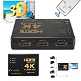 3 Port HDMI Switch 4K Ultra HD Resolution for PCs XBOX TVs (HDMI switch with a IR remote)