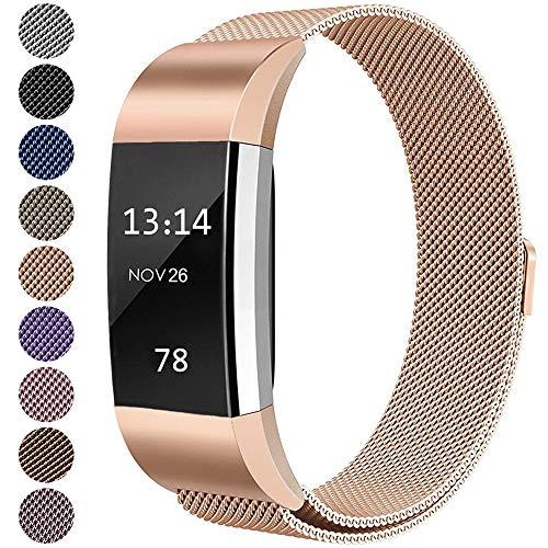 LINCCI Für Fitbit Charge2 Armband, Frauen Damen Herren Magnet Milanese Edelstahl Metall Sport Strap mit Magnetverschluss Armbänder für Fitbit Charge 2 Original Uhrband Uhrenarmband Roségold