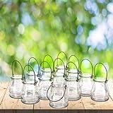 Relaxdays Windlicht aus Glas, 12er Set, Runde Glasvase mit Henkel, Tischdeko für Drinnen u. Draußen, 10 cm hoch, klar - 3