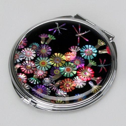 Miroir de Poche en Nacre Porte Monnaie Fleur LIBELLULE