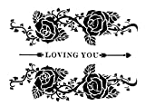 Temporäres Fake Tattoo Rosen Loving You entfernbare klebe Henna Festival Schwarze Körperkunst Temporary für Frauen Männer Kinder