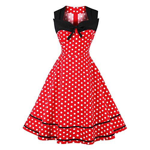 iBaste Übergröße Rockabilly Kleid Damen Ärmellos Kleid mit Polka Dots 1950er Vintage Kleid Swing Festliches Kleid Knielang Partykleid Cocktailkleid große größen-RD-2XL (Polka Rock Baumwolle Dots)