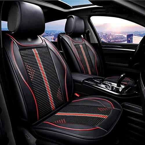 ZH~K Sitzbezügesets Universal-Full Set 5-Sitzer Auto-Sitzabdeckung vorn hinten Polster PU-Sitz Schutz Kompatibel Airbag warten (Color : Black)