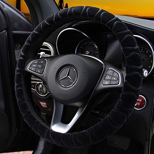 Lenkrad Abdeckung Kunstfell Winter Warm Lenkrad Wrap passt den meisten Auto 37cm 38cm Größe Innenzubehör schwarz