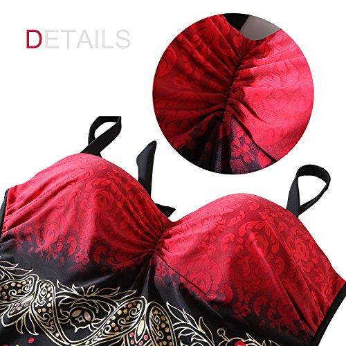 Dolamen Donna Costume Da Bagno con gonna, One Piece Floreale Bikini Vintage Costume intero con coppe soffici moda da bagno Swimsuit Swimwear Costume Mare Taglia grossa Rosso