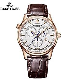Reef tigre mundo tiempo mes FECHA DÍA DE ORO ROSA esfera blanca reloj automático rga1951