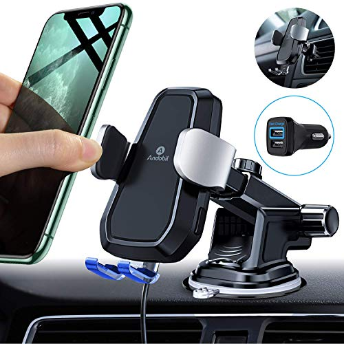 andobil 2 in 1 Wireless Charger Auto Kit mit QC 3,0 Adapter Lüftung & Armaturenbrett Kompatible 7,5W/10W automatisch induktive Autoladegerät für iPhone11/11 Pro Samsung Galaxy Note10/S10+ Usw
