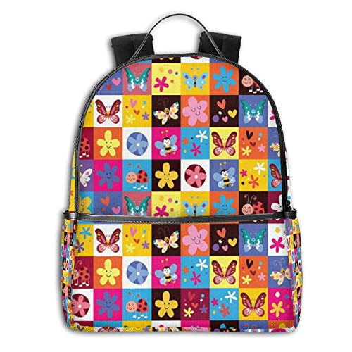 College Backpacks for Women Girls,Butterflies Beetles Flowers Bees Bugs Hearth Spring Lovely Hippie Season Image,Casual Hiking Travel Daypack