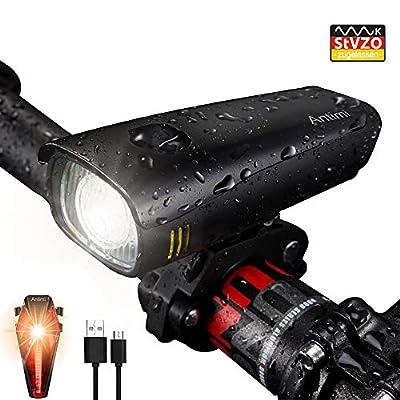 Antimi LED Fahrradlicht Set?Neueste Modell?, StVZO Zugelassen USB Wiederaufladbar Fahrradlichter Fahrradlampe Set, IPX5 Wasserdicht Frontlicht & Rücklicht Lampenset mit Samsung 2600mAh Li-ion Akku