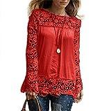 BHYDRY Mode Damen Langarm-Shirt Casual Spitze Bluse lose Baumwolle Tops T-Shirt(3XL,Rot)