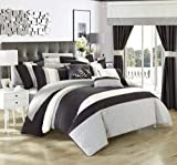 Chic Home 24 Piece Covington ottagono set completo da camera da letto con ricamo, Queen, nero