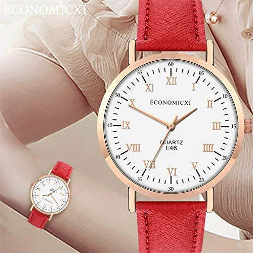 Uhr Armbanduhren Männer Damenuhren Hansee Mode Damen Lederarmband Uhren Quarz Analog Runde Armbanduhr Uhren Herrenuhr(F)