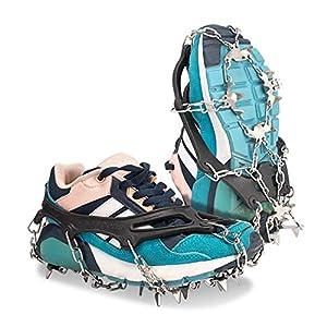 Deyard Traction Stollen Ice Snow Grips Unisex Anti Slip Steigeisen Schuhe mit 19 Spikes zum Laufen, Joggen, Klettern und Wandern auf Schnee und EIS