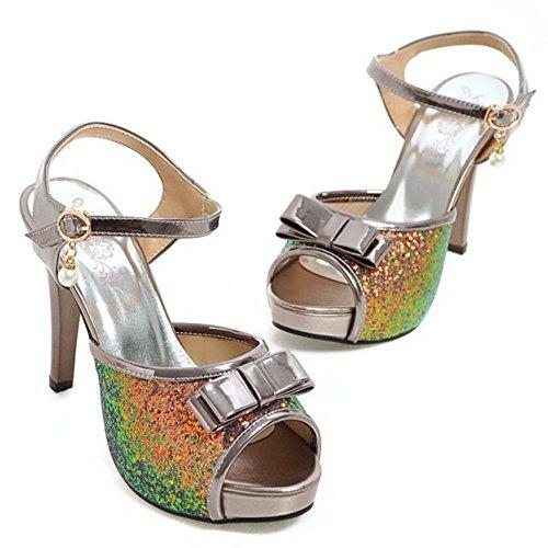 COOLCEPT Damen Mode Knochelriemchen Sandalen Stiletto Peep Toe Slingback Plateau Schuhe Mit Bogen Gr Schwarznickel