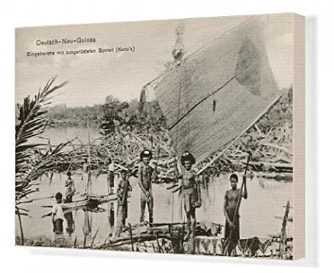 Canvas Print of Papua New Guinea - Indigenous people - outrigger canoes