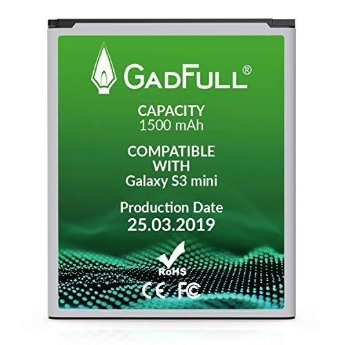 GadFull Batteria compatibile con Samsung Galaxy S3 mini | 2019 Data di produzione |Corrisponde al EB-F1M7FLU originale|Compatibile con Ace 2 i8160 |Galaxy S3 Mini i8190 |Galaxy S Duos S7562